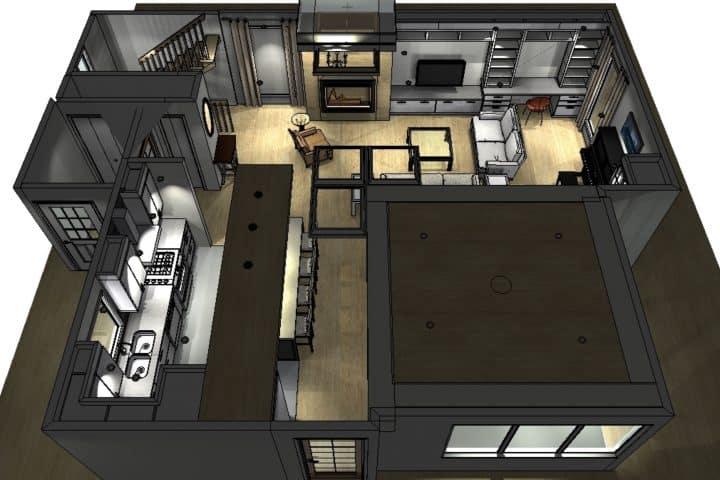 Perspective d'une maison en 3D