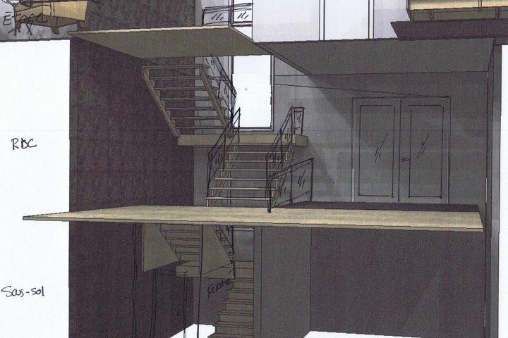 ESCALIER plan vertical - Staircase plan