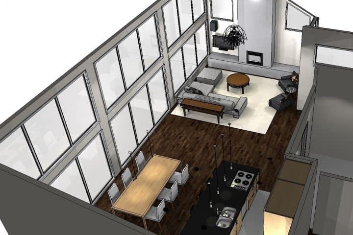 Salon et salle à manger perspective globale