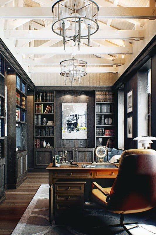 Bureau à domicile classique avec grande bibliotheque murale et fauteuil cuir