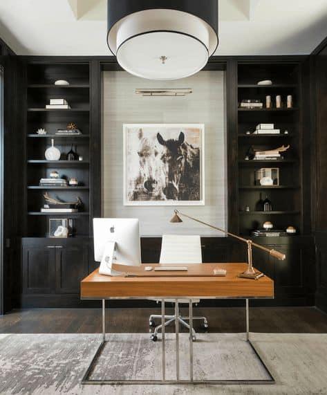 Bureau à domicile avec bureau en bois et métal stylé